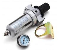 """Auarita. AFR-80 Фильтр-влагоотделитель с манометром, регулятором давления и автосбросом воды, 1/4"""""""