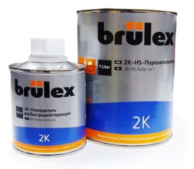 Brulex (928514126) 2К HS Грунт- порозаполнитель черный 4:1, 1л + 0.25л отвердитель