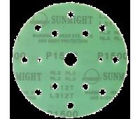 SUNMIGHT. Круг шлифовальный на липучке, зелёный, 150мм 15отв. Р1000