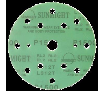 SUNMIGHT. Круг шлифовальный на липучке, зелёный, 150мм 15отв. Р1200