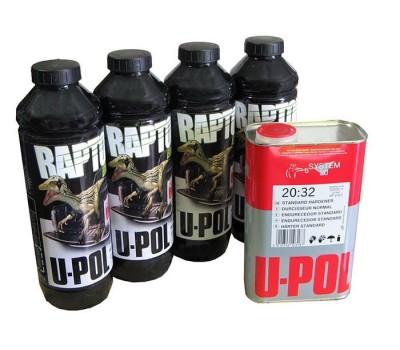 U-POL. RLT/S4 RAPTOR 2K 3:1 Защитное покрытие повышенной прочности КОЛЕРУЕМОЕ и отвердитель,  3.8л.
