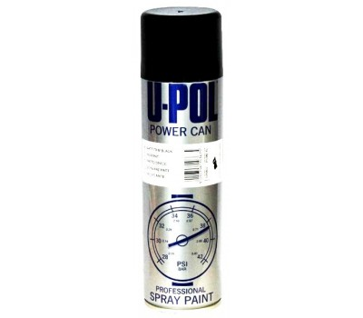 U-POL. PCSB/AL Эмаль полуматовая черная Power Can, спрей 500мл